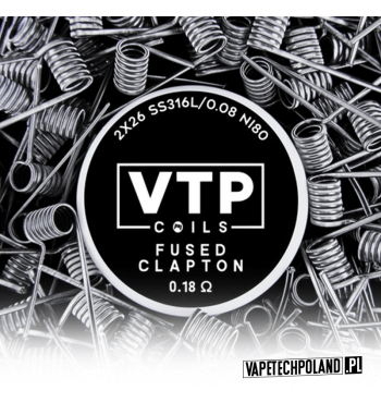 VTP COILS - FUSED CLAPTON 0.18Ω Produkt VAPETECHPOLAND - grzałkaFUSED CLAPTON. Zestaw zawiera 2szt. 3x27G/36G - TMN80 - 0.18Ω