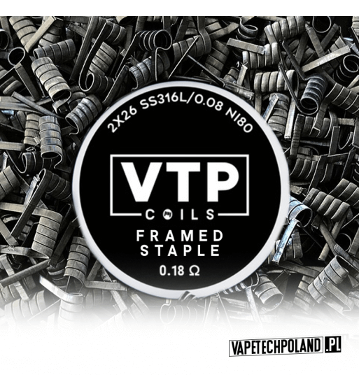 VTP COILS - FRAMED STAMPLE 0.18Ω Produkt VAPETECHPOLAND - grzałkaFRAMED STAMPLE. Zestaw zawiera 2szt. 2x28G/10x.3/40 - TMN80 -