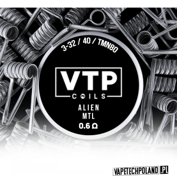 VTP COILS - ALIEN MTL 0.6Ω Produkt VAPETECHPOLAND - grzałka ALIEN MTL. Zestaw zawiera 2szt. 3-32/40 - TMN80 - 0.6Ω 1