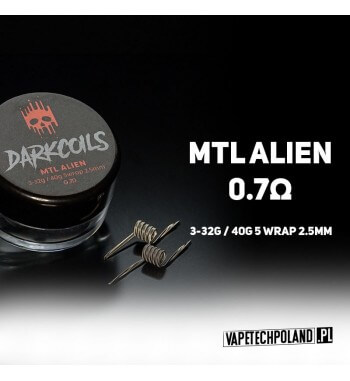 DARK COILS - ALIEN MTL 0.7Ω (2szt.) Produkt VAPETECHPOLAND - grzałka ALIEN MTL. Zestaw zawiera 2szt. 3-32/40g - TMN80 - 0.7Ω 2
