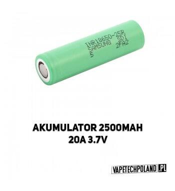 Akumulator Samsung 25R 18650 2500MAH 20A Oryginalny akumulator samsung 25R o pojemności 2500MAH/20A. 2
