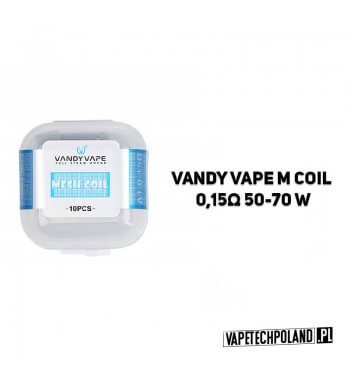 Siatka Mesh Vandy Vape M Coil - 0,15Ω Oporność: 0,15Ω Zakres mocy: 50-70W Ilość w zestawie: 10 szt. 2