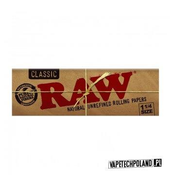 Bibułka RAW 1 1/4 Classic Bibułki Raw Classic 1 1/4 to naturalne bibułki zawierające mieszankę włókien niechlorowanych i niewyb
