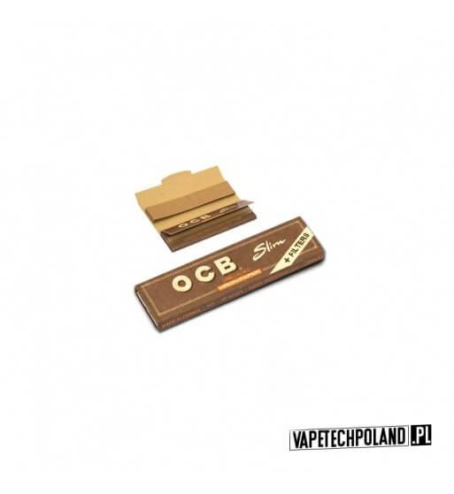 Bletki/Bibułki OCB Virgin Brown Slim + Filtry Ultra-cienkie brązowe bibułki OCB Virgin Brown Slim wykonane z naturalnego, niebi