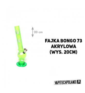 Fajka Bongo 73 Akrylowa - 20cm Szklana fajka typu bongo w zielonym kolorze ze srebrnymi listkami i metalowym cybuchem.Wysokość: