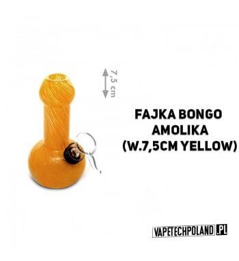 Fajka Bongo H.F. Amolika - 7,5cm Marka High Fly. Fajka wodna typu bongo wykonana z grubego szkła barwionego. Wysokość fajki: 7
