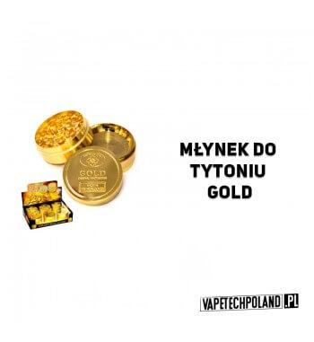 Grinder/Młynek do tytoniu - Gold Metalowy młynek do tytoniu. Olśniewający, złoty kolor.Wysokość 3,5 cm.Średnica 5 cm. 2