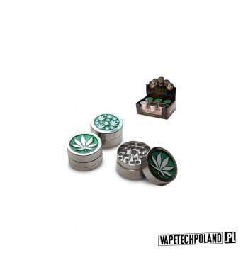 Grinder/Młynek do tytoniu - Green Metal Metalowy młynek do tytoniu z motywem liścia.Wysokość 2,5 cm.Średnica 4 cm. 1