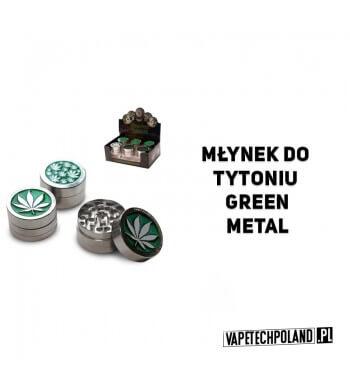Grinder/Młynek do tytoniu - Green Metal Metalowy młynek do tytoniu z motywem liścia.Wysokość 2,5 cm.Średnica 4 cm. 2