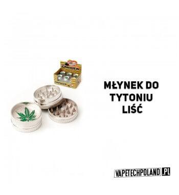 Grinder/Młynek do tytoniu - Liść Metalowy młynek do tytoniu z zawsze modnym motywem listka. Wysokość 2 cm. Średnica 4 cm. 2