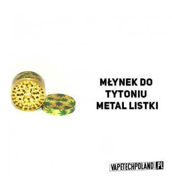 Grinder/Młynek do tytoniu - Metal Listki Metalowy, czteroczęściowy młynek do tytoniu w kolorze złota z magnetycznym wieczkiem.