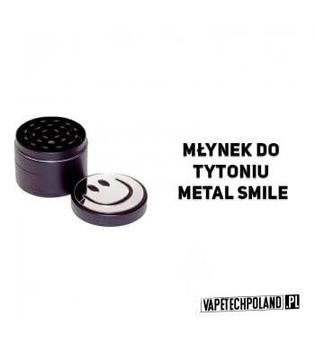 Grinder/Młynek do tytoniu - Metal Smile Czteroczęściowy, metalowy młynek do tytoniu z lustrzanym, magnetycznym wieczkiem i moty