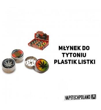 Grinder/Młynek do tytoniu - Plastik Listki Plastikowy młynek do tytoniu z zawsze popularnym motywem listka.Wysokość 2,5 cm.Śred