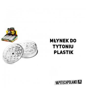 Grinder/Młynek do tytoniu - Plastik/transparentny Plastikowy, transparentny 3-częściowy młynek do tytoniu. Teraz możesz ocenić