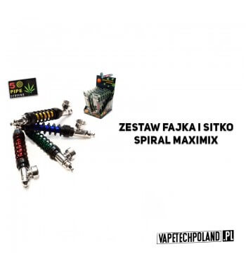 Zestaw fajka i sitko - Spiral MaxiMix Metalowa fajeczka do palenia w zestawie z 5 sitkami.Dostępna w różnych kolorach.Długość:
