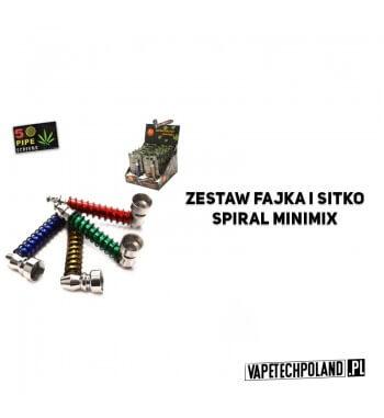 Zestaw fajka i sitko - Spiral MiniMix Metalowa fajeczka do palenia w zestawie z 5 sitkami.Dostępna w różnych kolorach.Długość:
