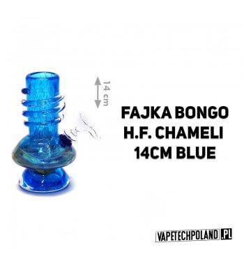 Fajka Bongo H.F. Chameli - 14cm (blue) Wykonana z grubego szkła, wysokiej jakości, fajka wodna typu bongo o nowoczesnym kształc