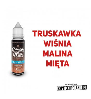 PREMIX VIRGINIA WHITE - Berry & Mint 40ML Premix VIRGINIA WHITE o smaku truskawki, wiśni, jagody i mięty. 400ML PŁYNU W BUTELCE