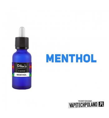 Aromat Dillons - Menthol15ml Aromat o smaku mentholu.  Sugerowane dozowanie: 7-15% Pojemność: 15ml Kwota podatku akcyzowego :